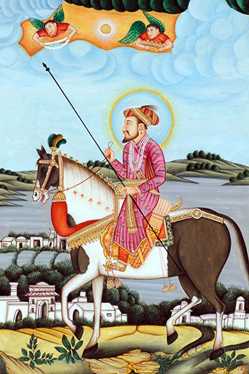 Mughal Emperor Shah Jahan riding a horse miniature painting