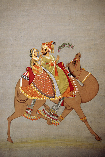 Dhola and Maru riding a camel miniature painting
