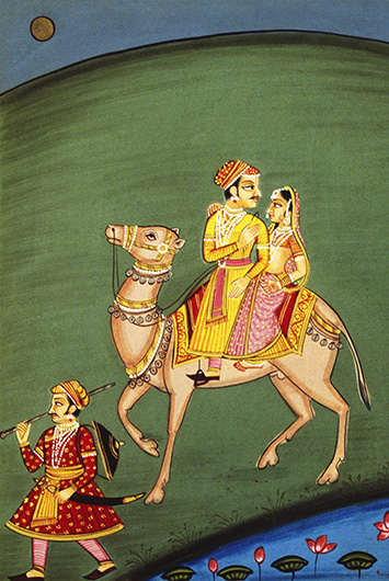 Ragini and Maru riding a camel miniature painting