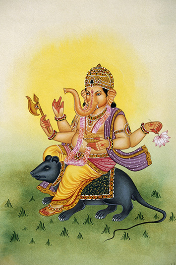 Lord Ganesh riding a mouse miniature painting