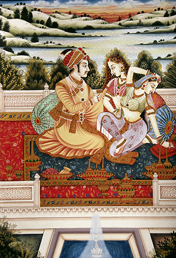 Mughal Emperor and Empress miniature painting